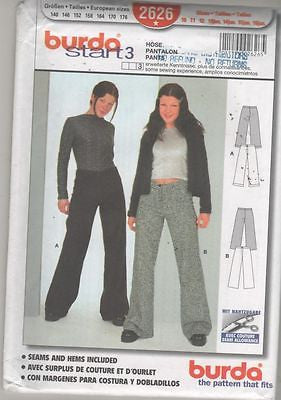 * 2626 Sewing Pattern Burda Girls Juniors Pants 10 11 12 13 14 15 16 +
