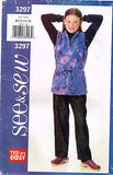 *3297 Sewing Pattern Butterick Girls Fleece Vest and Pants 7-8-10 or 12-14-16