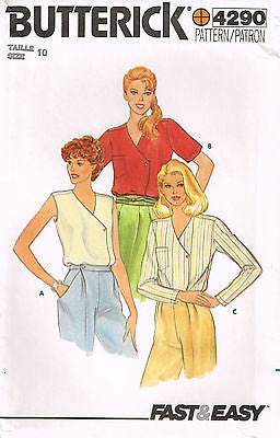 4290 Sewing Pattern Vintage Butterick Ladies Blouse Choose size 10 or 12