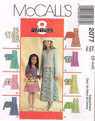 *2077 Sewing Pattern McCall's Girls Dress and Cardigan Jacket 4 5 6 or 7 8 10