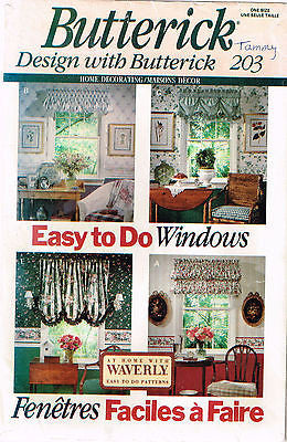 *0203 Sewing Pattern Vintage Butterick Country Valance Valances Window Treatment +