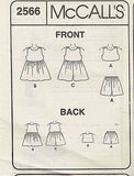 *2566 Sewing Pattern McCall's Girls Romper Dress Top Shorts choose 2-3-4 or 4-5-6