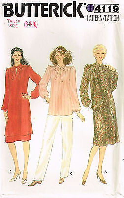 *4119 Sew Pattern Vintage Butterick Ladies Dress Tunic Top Pants 6-8-10 Uncut *