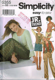 5355 Sew Pattern Junior Teen Girls Cargo Pants Vest Skirt Top 11/12 13/14 15/16
