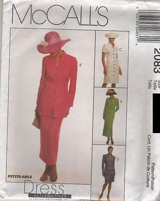 *2083 Sew Pattern McCall's Ladies Button Front Dress or Jacket Skirt choose size