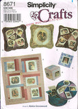 "8671 Sewing Pattern ""Robin Greenwood"" Memory Quilt Pillows Ornament Cube"