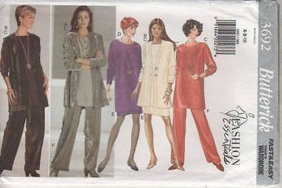 3692 Sewing Pattern Butterick Fashion Essentials Tunic Jacket Skirt Pants 6 8 10