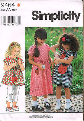 9464 Sewing Pattern McCall's Girls Dress and Ladybug Bag  2 3 4