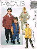 *2417 Sew Pattern McCall's Kids Jacket Vest and Pull on Pants 4-5-6 or 12-14-16