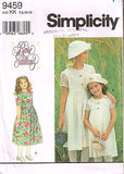 "9459 Sewing Pattern Girls ""Rare Editions"" Dress and Hat 7 8 10 12"