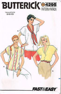 4295 Sewing Pattern Vintage Ladies Blouse 6-8-10 or 12-14-16