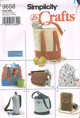 9658 Sewing Pattern Utility Bag Package Tote Bottle Cell Phone Bags
