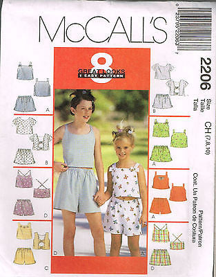 *2206 Sew PatternGirls Summer Shorts and Tops choose size 10 12 14 or 7 8 10