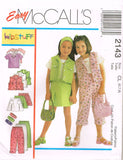 *2143 Sewing Pattern Girls Denim Blue Jean Jacket Skirt Pants Top 3-4-5 or 6-7-8