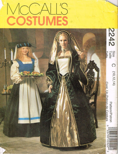 *2242 Sewing Pattern Ladies Costume Renaissance Dress w Headpiece 10-12-14 +