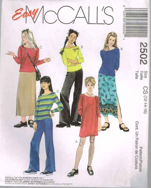 *2502 Sewing Pattern McCall's Girls Dress Top Skirt choose size 12-14-16