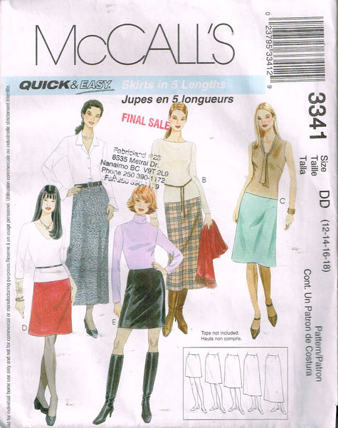 *3341 Sewing Pattern McCall's Ladies Pencil Skirt in 5 Lengths 12-14-16-18
