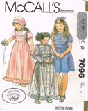 "7096 Sewing Pattern Vintage McCall's Girls ""Laura Ashley"" Dress & Bonnet 3 or 4"
