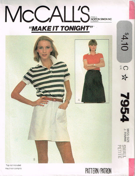 7954 Pattern Vintage McCall's Ladies Pull On Skirt Small 10-12 or Medium 14-16