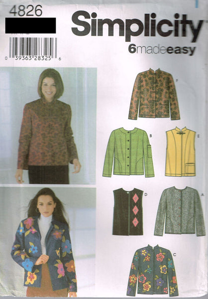 *4826 Pattern Ladies Jacket w Variations including Mandarin Collar XS-S-M