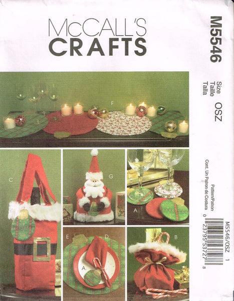 5546 Sewing Pattern Christmas Accessories Santa Bag Placemat Napkin