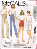 7530 Sewing Pattern Vintage McCall's Pants and Shorts choose size 10 or 12