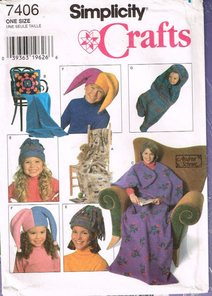7406 Sewing Pattern Accessories with Fleece Hat Blanket Bunting Pillow