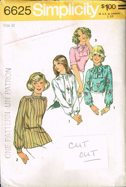6625 Sewing Pattern Vintage Ladies Blouse 10 *CUT OUT*