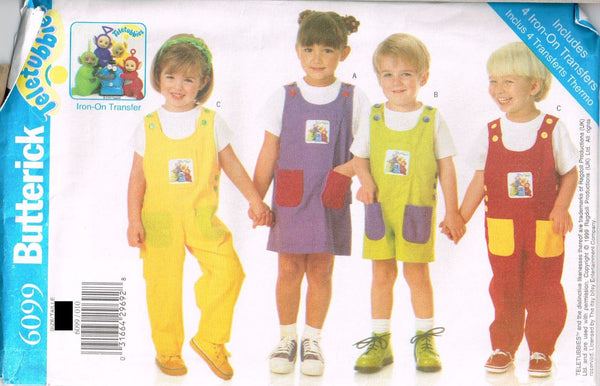 6099 Pattern Jumpsuit Jumper Shorts Teletubbies 4X Transfers Size 1-2-3 or 4-5-6