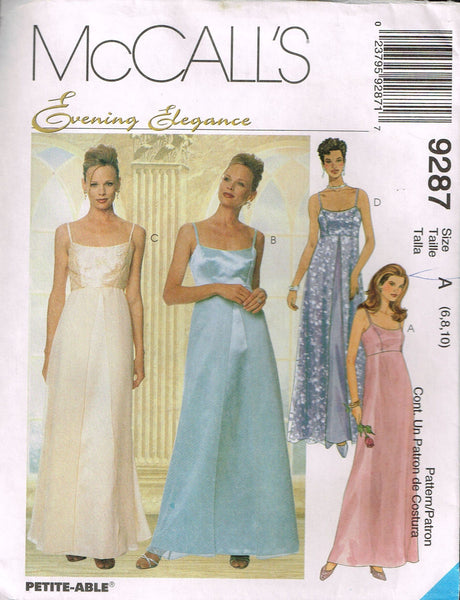 9287 Sew Pattern McCall's Wedding Bridal Strappy Slip Dress 6-8-10 or 8-10-12