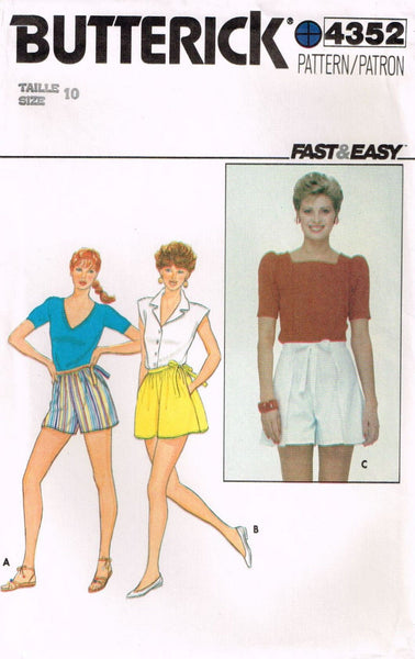 4352 Pattern Vintage Butterick Ladies Wrap Around Shorts choose size 10 or 12