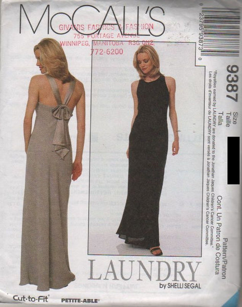9387 Pattern McCall's Ladies designed by Laundry Evening Gown  4-6-8 or 10-12-14