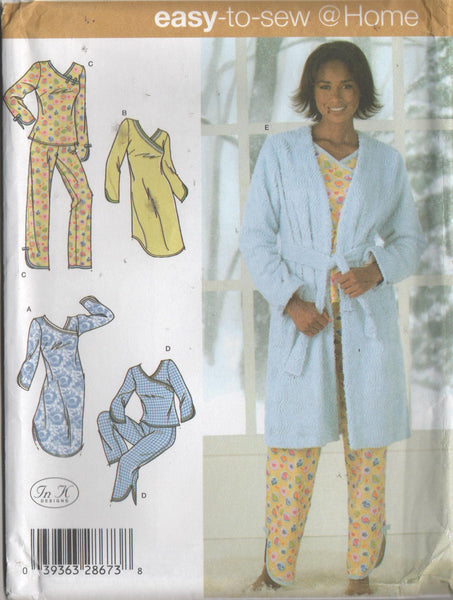 4796 Sewing Pattern Ladies Pajamas Nightshirt Robe choose sizes  XS S M or L XL