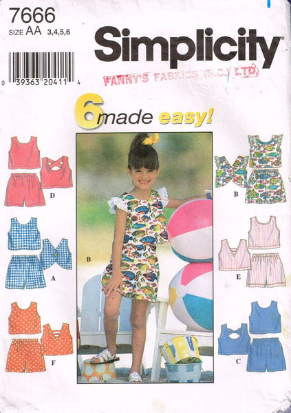7666 Sewing Pattern Girls Summer Shorts Outfit 3 4 5 6