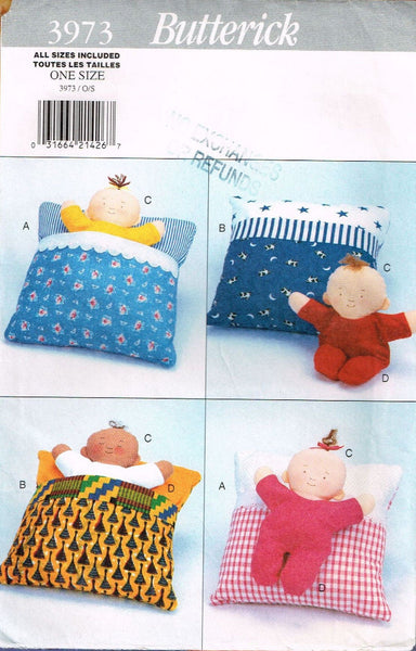 "3973 Sewing Pattern Butterick Two Faced Doll w Goodnight Pillow 10 1/2"" Dolls"