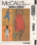 7980 Sewing Pattern Vintage McCall's Girls Dress Jumpsuit Choose size 4 or 6