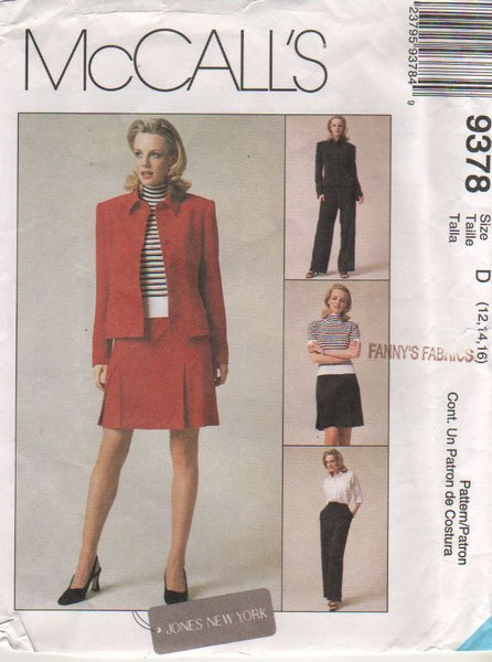 9378 Pattern McCall's Jones New York Jacket Skirt and Pants 12-14-16  or14-16-18