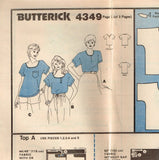 4349 Sew Pattern Vintage Butterick Ladies Blouse Small (8-10) or Medium (12-14)