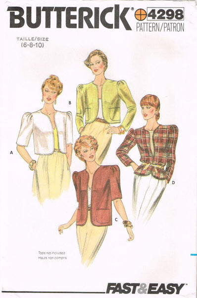 4298 Sewing Pattern Vintage Ladies Jacket with Variations 6-8-10 or 12-14-16