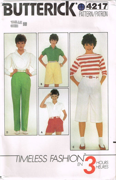 4217 Sewing Pattern Vintage Butterick Pants Shorts 10 or 12
