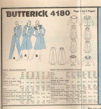 4180 Sew Pattern Vintage Butterick Ladies Culottes Pants Skirt Jacket 10 or 12