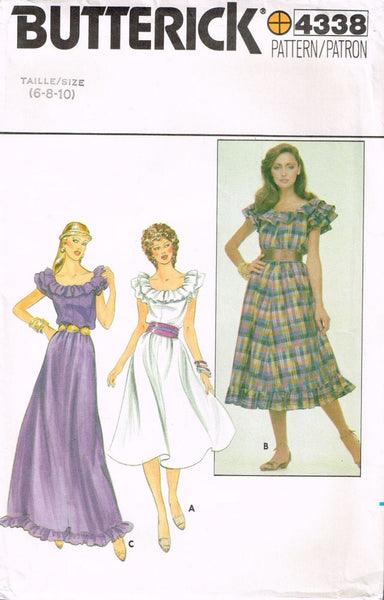 *4338 Sew Pattern Vintage Butterick Ladies Dress Ruffled Neck 6-8-10 *