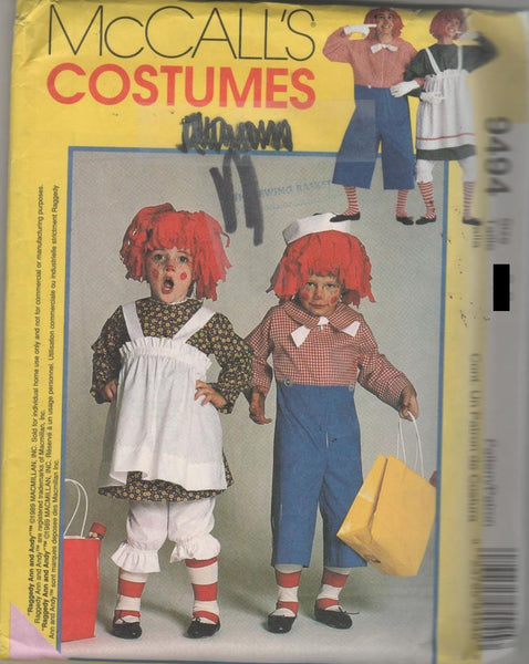 9494 Pattern Costume Adult Rageddy Ann & Andy  SizeM(36-38) or L(40-42) Kids 6-8