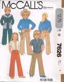7626 Sewing Pattern Vintage McCall's Kids Toddlers Cowboy Cowgirl Shirt Pants 3
