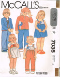 7035 Sew Pattern Vintage McCall's Kids Bib Front Overall Jumper Jacket 2 or3 or4