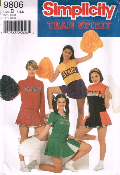 9806 Sewing Pattern Team Spirit Ladies Cheerleader Costume 4 6 8
