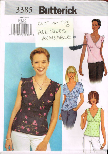 3385 Sewing Pattern Butterick Ladies Blouse 6 8 10  *CUT OUT*