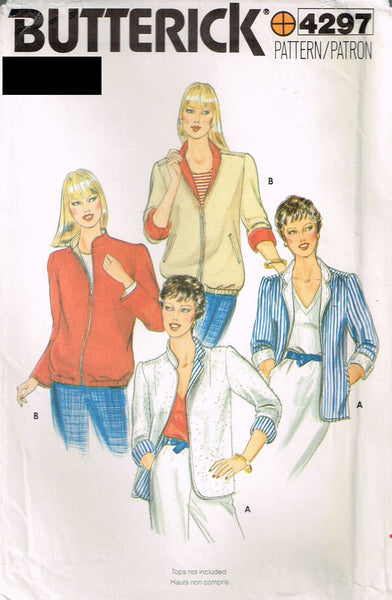 4297 Vintage Sewing Pattern Vintage Ladies Zip-Up Jacket 6-8-10 or 12-14-16