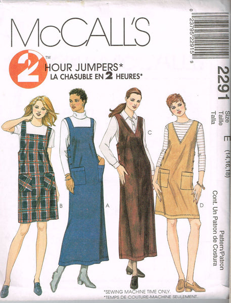 *2291 Sewing Pattern Ladies Jumper Dress 4-6-8 or 14-16-18