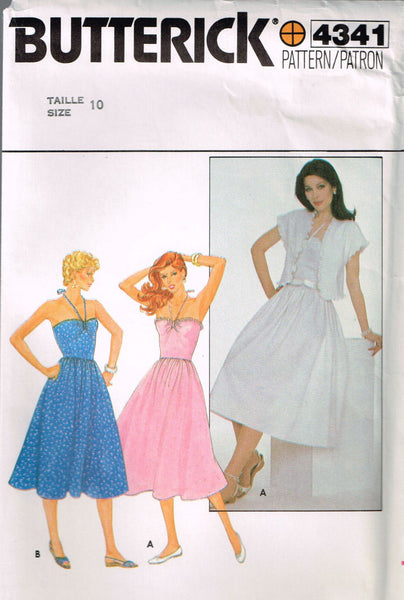 4341 Sewing Pattern Vintage Butterick Ladies Halter Dress with Jacket 10 or 12